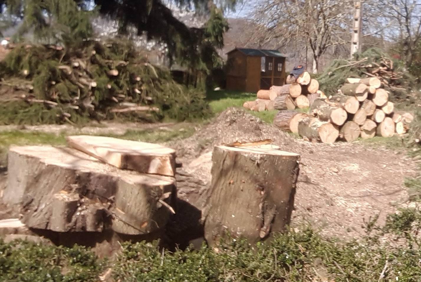 rangement du bois et du branchage sur un chantier à Foix
